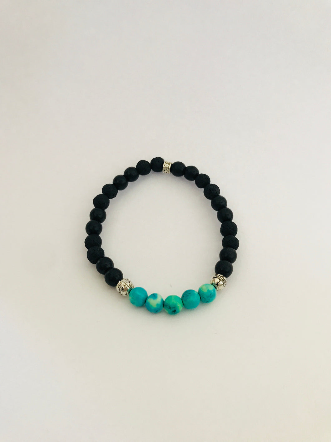 Lava bead, Black Howlite and Turquoise Diffuser Bracelet
