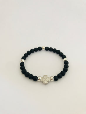 Lava Bead and Black Howlite with Crystal Clover Charm Diffuser Bracelet