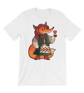 T-Shirt Cute Red Fox in national costume holds a small Heart