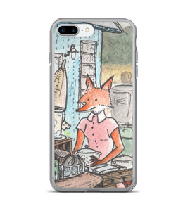Lady Red Fox in pink sress in antique market - cute watercolor ink art - part of set Phone Case