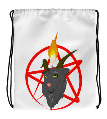 Drawstring Gym Bag Baphomet Satanic Goat with a Pentagram