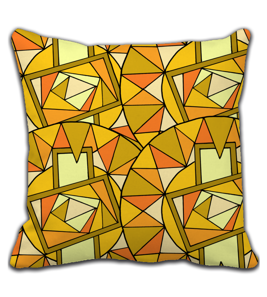 Throw Pillow Mirror Mosaic - Art made by hand and digitally finalized.