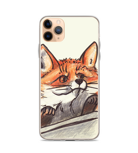 Funny curious Red Fox looks from behind the fence standing on his hind legs Phone Case