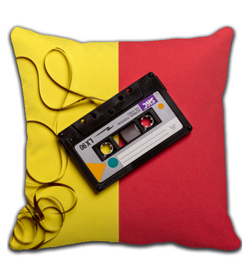 Throw Pillow Black cassette tape