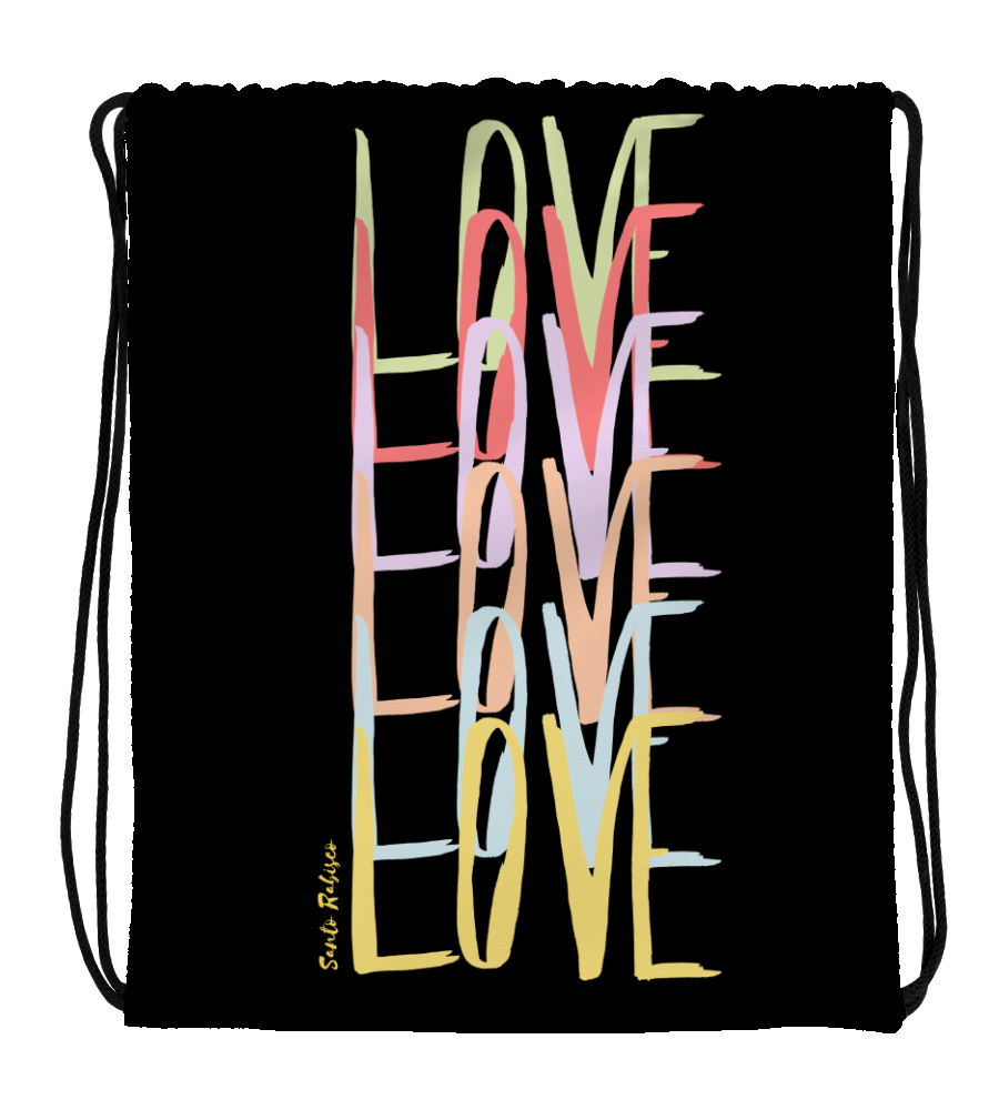 Drawstring Gym Bag Love - Art made by hand and digitally finished.