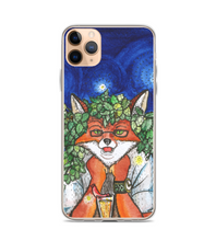 Fox in Glasses and Wreath of Hops with glass of Beer and Sosidge in the Night Phone Case