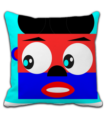 Throw Pillow Happy and colorful snow monster