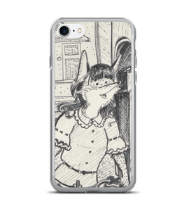 Cute Lady Fox on bike in old town - original ink art Phone Case