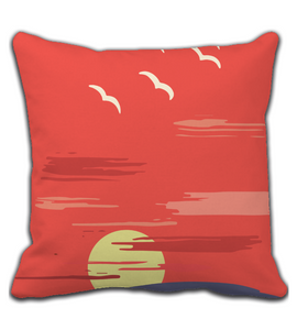 Throw Pillow Sun Rise with Birds Throw Pillow