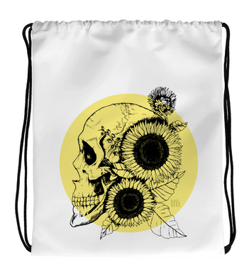 Drawstring Gym Bag Sunflowers and Skull
