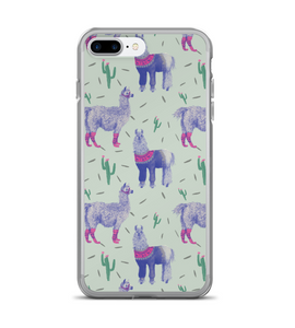 Llama Purple Cactus Print Phone Case
