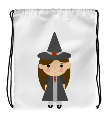 Drawstring Gym Bag Cute Witch Doodle