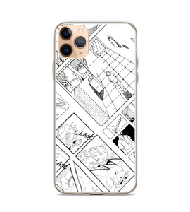 manga pg comic pop art page cover illustration drawing draw black white panel strip Phone Case