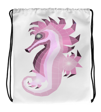 Drawstring Gym Bag Glass_seahorse