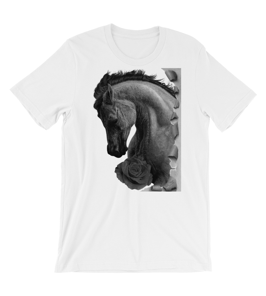 T-Shirt Horse farm equestrian race rose drawing realistic pencil graphite arabian art animal wild