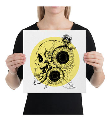 Canvas Sunflowers and Skull