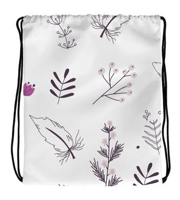 Drawstring Gym Bag Purple Pattern Flowers Bloom lines