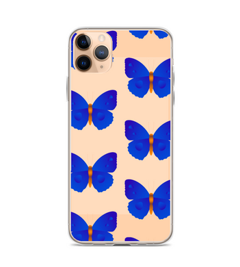 Butterflys blue insects beige Phone Case