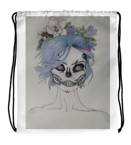 Drawstring Gym Bag makeup woman from day of the dead
