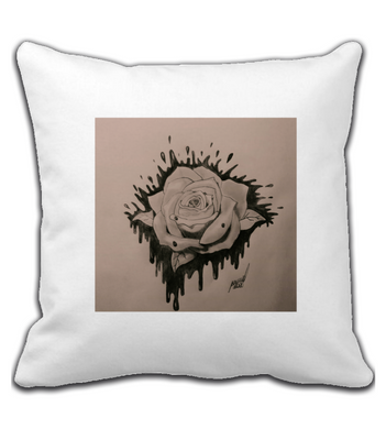 Throw Pillow Black and grey rose