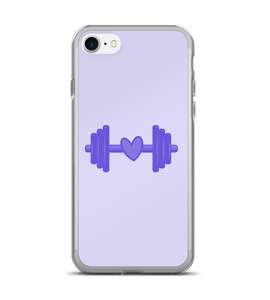 Purple Barbell Heart Print Phone Case