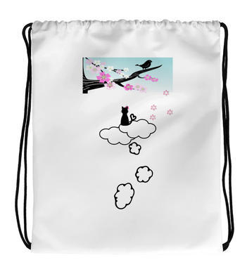 Drawstring Gym Bag Cat in the clouds