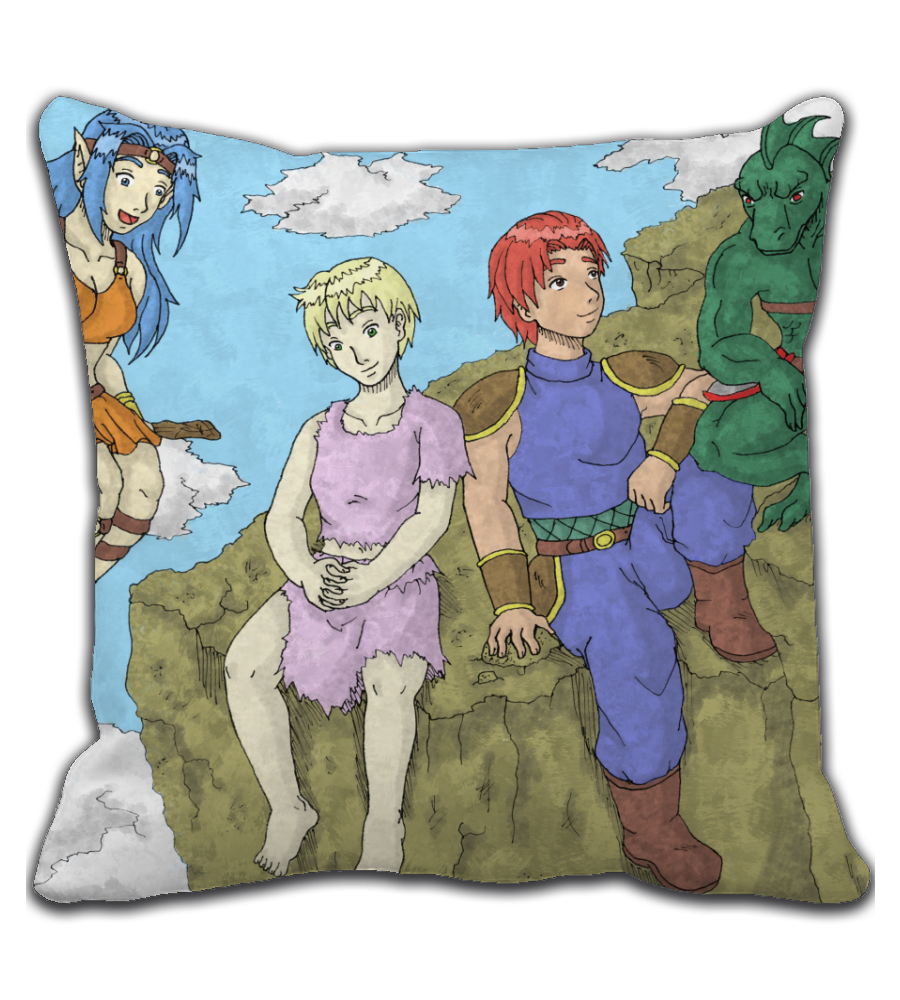 Throw Pillow manga comic cover page rpg illustration drawing color colored fanart warrior boy girl