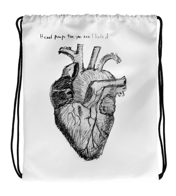 Drawstring Gym Bag Pumping Heart