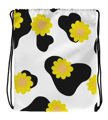 Drawstring Gym Bag Cow Print With Flowers Aesthetic.