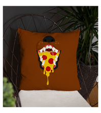 Throw Pillow Brown dog with a pizza inside mouth