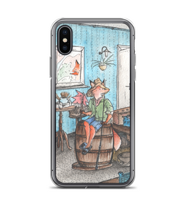 Red Fox Cub fisherman sitting on a barrel - cute watercolor ink art - part of set Phone Case
