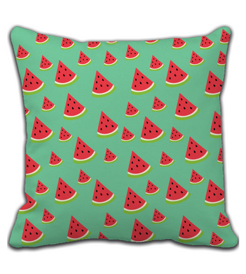 Throw Pillow Watermelon Print Green and Red