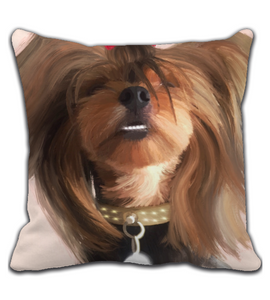 Throw Pillow Digital painting art- cute dog smiling - yorkie