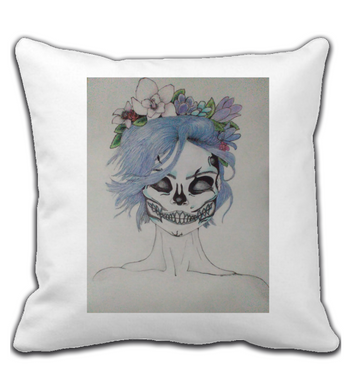 Throw Pillow makeup woman from day of the dead