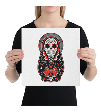 Canvas Mexican Skull Doll