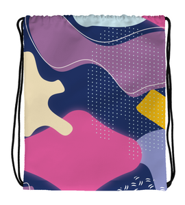 Drawstring Gym Bag Abstract pattern seamless colorful dark purple yellow pink coffee
