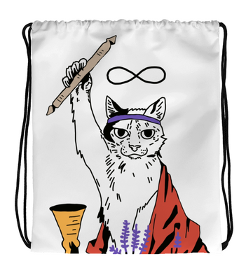 Drawstring Gym Bag Tarot Cat