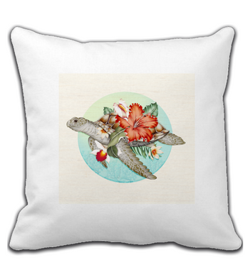 Throw Pillow Turtle with flowers
