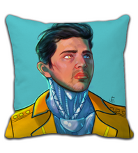 Throw Pillow men comic art cyberpunk beauty