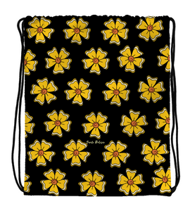Drawstring Gym Bag Flowers -  Art made by hand and digitally finished.