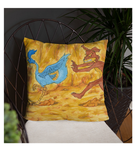 Throw Pillow draw drawing illustration color colored road wolf bird perseguition run mammal cartoon
