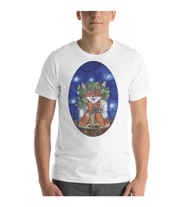 T-Shirt Fox in Glasses and Wreath of Hops sits by the Stump with glass of Beer and Sosidge in the