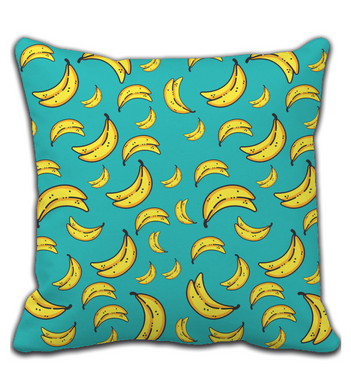 Throw Pillow Blue and Yellow Banana Print Pattern