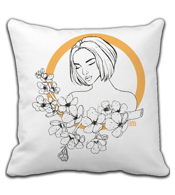 Throw Pillow Cherry Blossom Girl