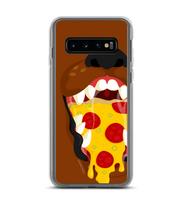 Brown dog with a pizza inside mouth Phone Case