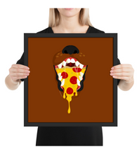 Framed Poster Brown dog with a pizza inside mouth