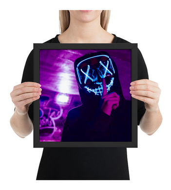 Framed Poster Skull man with led mask (silence)