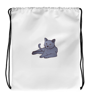 Drawstring Gym Bag Fluffy gray cat