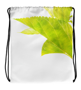 Drawstring Gym Bag Light Green Leaves