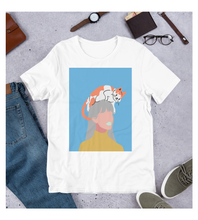 T-Shirt fashion girl with cat on the head. Lazy funny cat, minimalist pastel colours art.